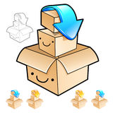 Packing small boxes into a big box Illustration. Product and Dis Royalty Free Stock Photo