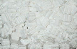 Packing Styrofoam. White lightweight packing peanuts (styrofoam) in a box from a new shipment Royalty Free Stock Photos