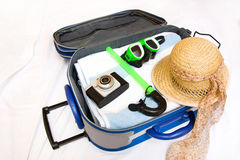 Packing a suitcase Stock Photo