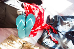 Packing a suitcase for summer Stock Photography