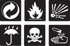 Packing symbols. Flammable, explosive,cover,poison,corrosive Stock Photography