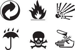 Packing symbols. Flammable, explosive, cover, poison, corrosive Stock Images