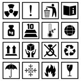 Packing Symbols Black. Packing symbols fragile handling and protection black icons set isolated vector illustration Royalty Free Stock Image