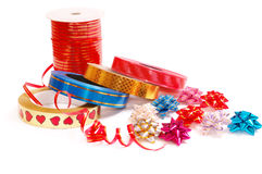 Packing tape and bows Royalty Free Stock Photography
