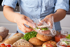 Packing tasty sandwich Royalty Free Stock Images