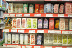 Packing of tea on supermarket shelves Stock Photo