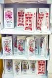 Packing of tea on supermarket shelves Stock Photos