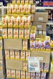 Packing of tea on supermarket shelves Royalty Free Stock Image