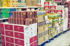 Packing of tea on supermarket shelves Stock Photo