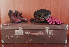 Packing and travel in retro style royalty free stock photography