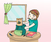 Packing up the schoolbag. A girl packs up her schoolbag. Digital colors Stock Images