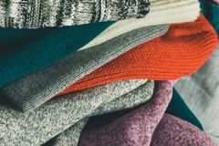 Packing winter apparel. Close up of packing winter apparel Stock Image