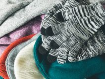 Packing winter apparel. For keep warming Royalty Free Stock Image