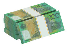 Packs of australian dollars. Isolated on white background Stock Illustration