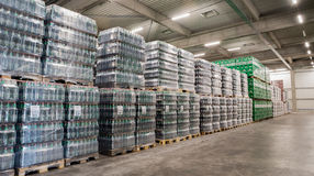 Packs of beer in a brewery warehouse Stock Photography