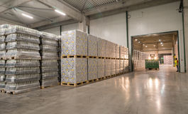Packs of beer in a brewery warehouse Stock Images