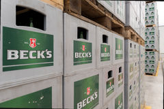 Packs of bottled beer in an outdoor storage lot Royalty Free Stock Photo
