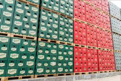 Packs of bottled beer in an outdoor storage lot Royalty Free Stock Photos