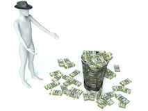 Packs of dollar in the garbage can. 3d man Stock Images