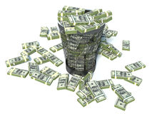 Packs of dollar in the garbage can. Royalty Free Stock Photography