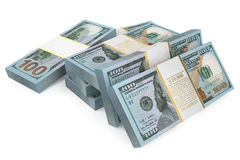 Packs of dollars closeup. Isolated on white background Stock Illustration