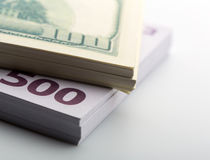 Packs of dollars and euros Royalty Free Stock Photography