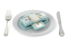 Packs of dollars on food plate with fork and knife, 3D rendering Stock Photo