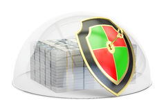 Packs of dollars with glass dome and shield, financial insurance. And business stability concept, 3D Stock Images