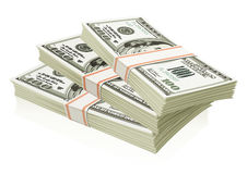 Packs of dollars money isolated Royalty Free Stock Photography