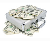 Packs of dollars money on the silver suitcase Royalty Free Stock Photography