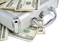 Packs of dollars money on the silver suitcase Royalty Free Stock Photos