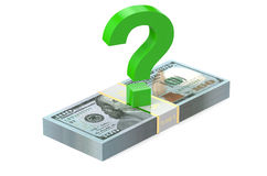 Packs of dollars with question sign Royalty Free Stock Image
