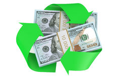 Packs of dollars and recycle symbol Stock Photography