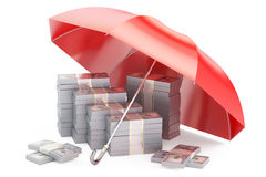 Packs of dollars with umbrella, financial insurance and business. Stability and protection in financial, business and insurance concept, 3D rendering. Dollars Royalty Free Stock Image