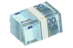 Packs of 20 euro 3D. Packs of 20 euro on white background Stock Photography