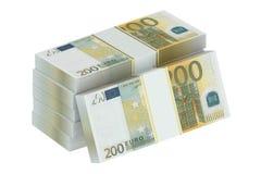 Packs of 200 euro Royalty Free Stock Photos