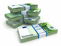 Packs of euro on white background. Royalty Free Stock Image