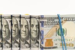 Packs of hundred dollar bills Royalty Free Stock Photo
