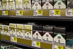 Packs of Marlboro Cigarettes I. Indianapolis - Circa June 2016: Packs of Marlboro Cigarettes. Marlboro is a product of the Altria Group I Royalty Free Stock Photo