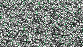 Packs of One Hundred Dollars  as  Background. Digital painting, illustration, collage of hundred USA dollar bills piled Royalty Free Stock Photography