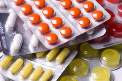 Packs of pills Stock Images