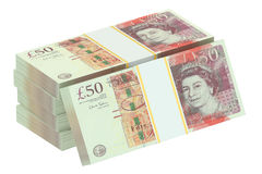 Packs of pound sterling Stock Images