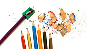 Packshot färbte Bleistiftspitzer Stockfotos