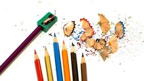 Packshot färgade blyertspennavässaren arkivfoton