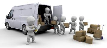 Packwagen und Männer des Ausbaus 3D Stockfoto