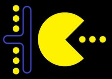 Pacman game in action. Icons Pacman game in action