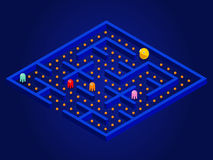 Pacman game with ghosts, maze and user interface. Video game Vector illustration Royalty Free Stock Image