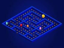 Pacman gra z duchami, labiryntem i interfejsem użytkownika, Wideo gry wektoru ilustracja ilustracja wektor