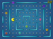 Pacman like video arcade game with ghosts, labyrinth and user interface vector stock Royalty Free Stock Photo