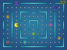 Pacman mögen Videospielhallespiel mit Geistern, Labyrinth und Benutzerschnittstellenvektorvorrat vektor abbildung